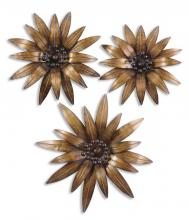Uttermost 13479 - Uttermost Golden Gazanias Metal Wall Art, Set/3