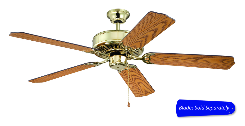 "Pro Builder 52"" Ceiling Fan in Polished Brass (Blades Sold Separately)"