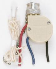 Satco Products Inc. 90/689 - 3 Way Ceiling Fan Switch, 2 Circuit w/Metal Chain,White Cord & Bell - Rated: 6A-125V, 3A-250V