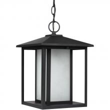 Sea Gull 69029BLE-12 - Fluorescent Hunnington One Light Outdoor Pendant in Black with Seeded Etched Glass