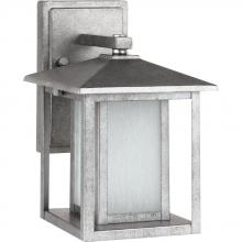 Sea Gull 89029BLE-57 - Fluorescent Hunnington One Light Small Outdoor Wall Lantern in Weathered Pewter with Seeded Etched G